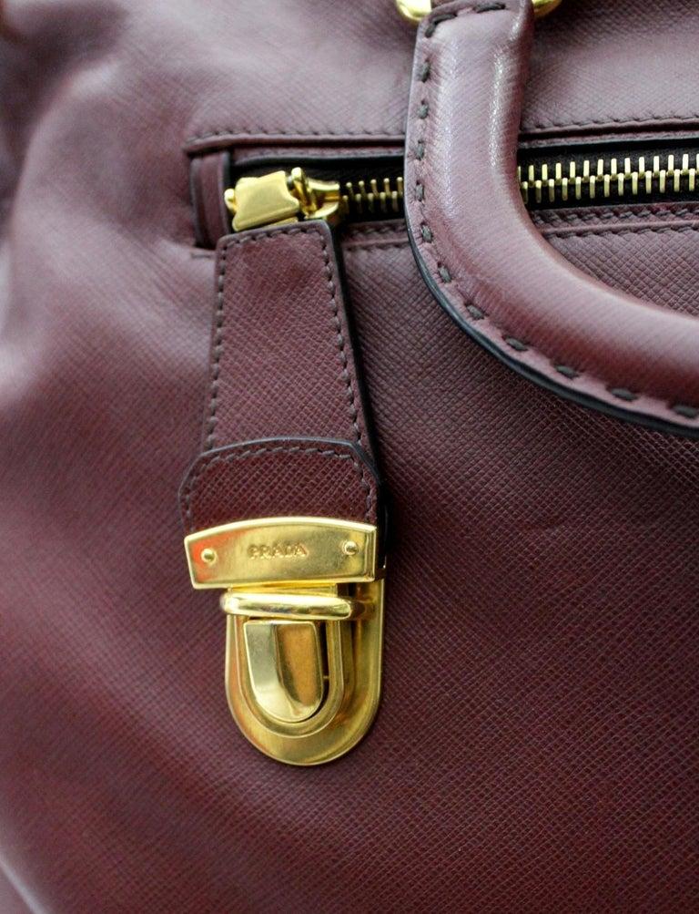 Black Prada Bordeaux Leather Shoulder Bag For Sale