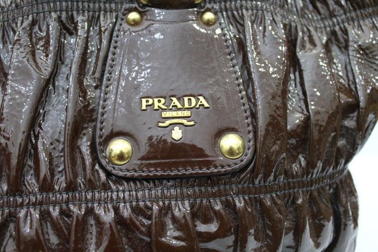 Black Prada Ematite Vernice Gaufrè Leather  For Sale
