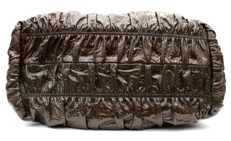 Women's Prada Ematite Vernice Gaufrè Leather  For Sale
