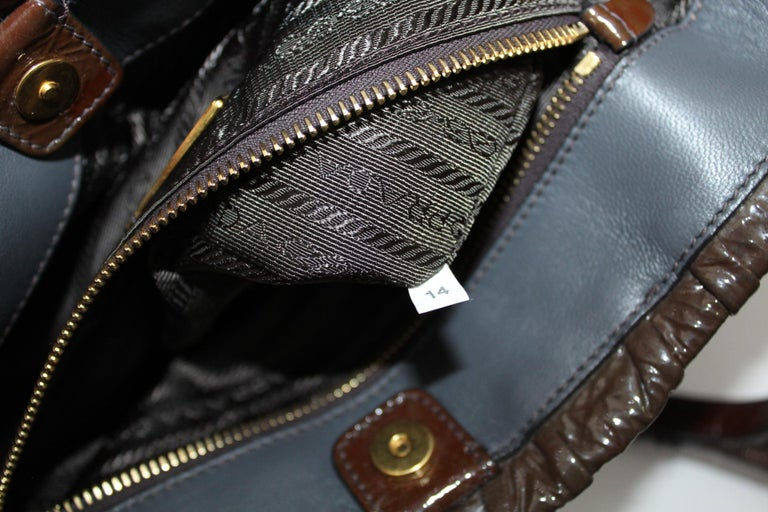 Prada Ematite Vernice Gaufrè Leather  For Sale 2