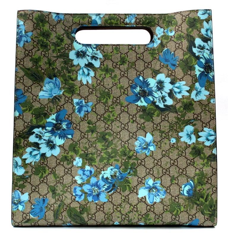 Gray Gucci Linea C Blooms Print XL Tote For Sale