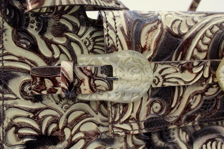 Brown Fendi Embossed Natural Leather Vintage Bag For Sale