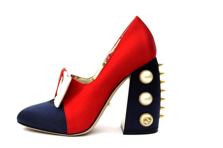 138ea20b72d Gucci Luna Studded Block Heels Color Block Satin Pumps For Sale at ...