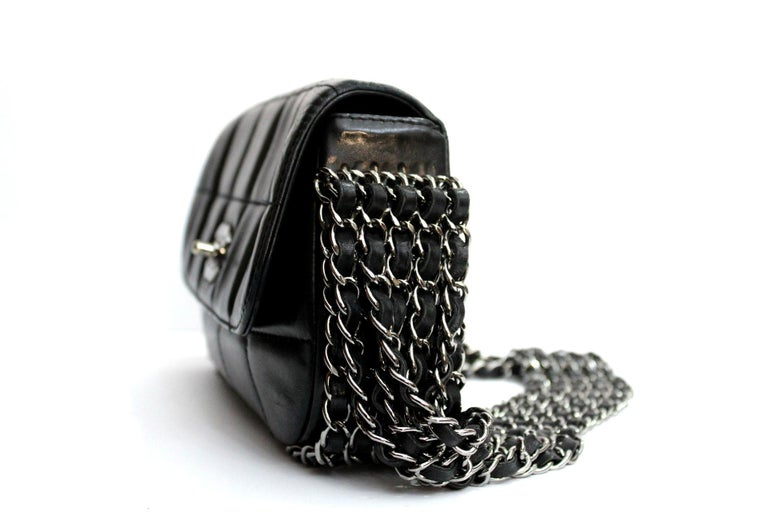 Women's Chanel Black Leather Multiple Chain Bg  For Sale