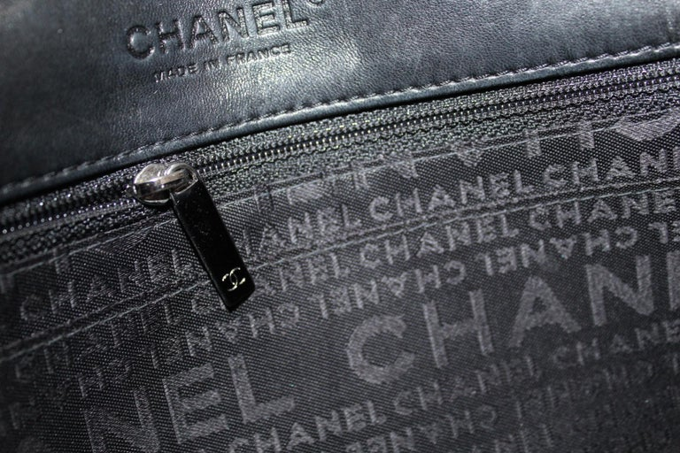 Chanel Black Leather Multiple Chain Bg  For Sale 4