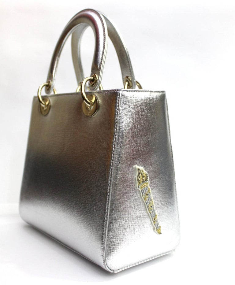 Christian Dior Lady Dior Handbag Patch Embellished Leather Medium For Sale 1 7cdd9836ce1bb