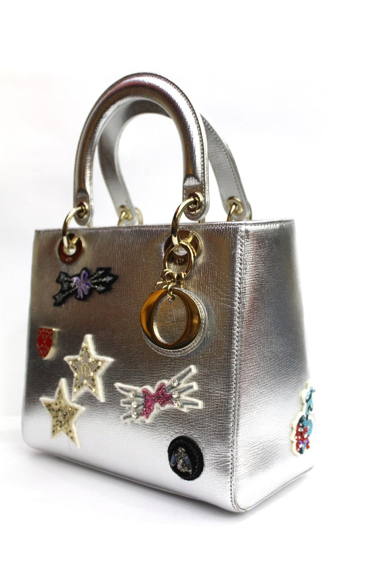 Gray Christian Dior Lady Dior Handbag Patch Embellished Leather Medium For  Sale 76700fd9f7369