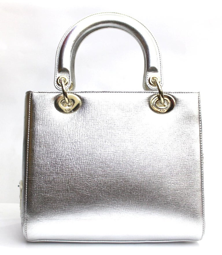 Women s Christian Dior Lady Dior Handbag Patch Embellished Leather Medium  For Sale 4c26839fa8990