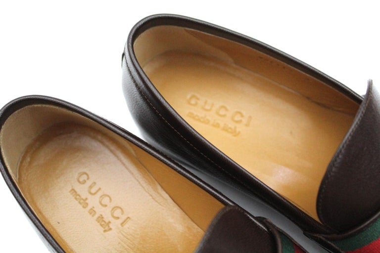 2dda4c409 Men's Gucci Mocassin Leather With Web Details and Double GG For Sale