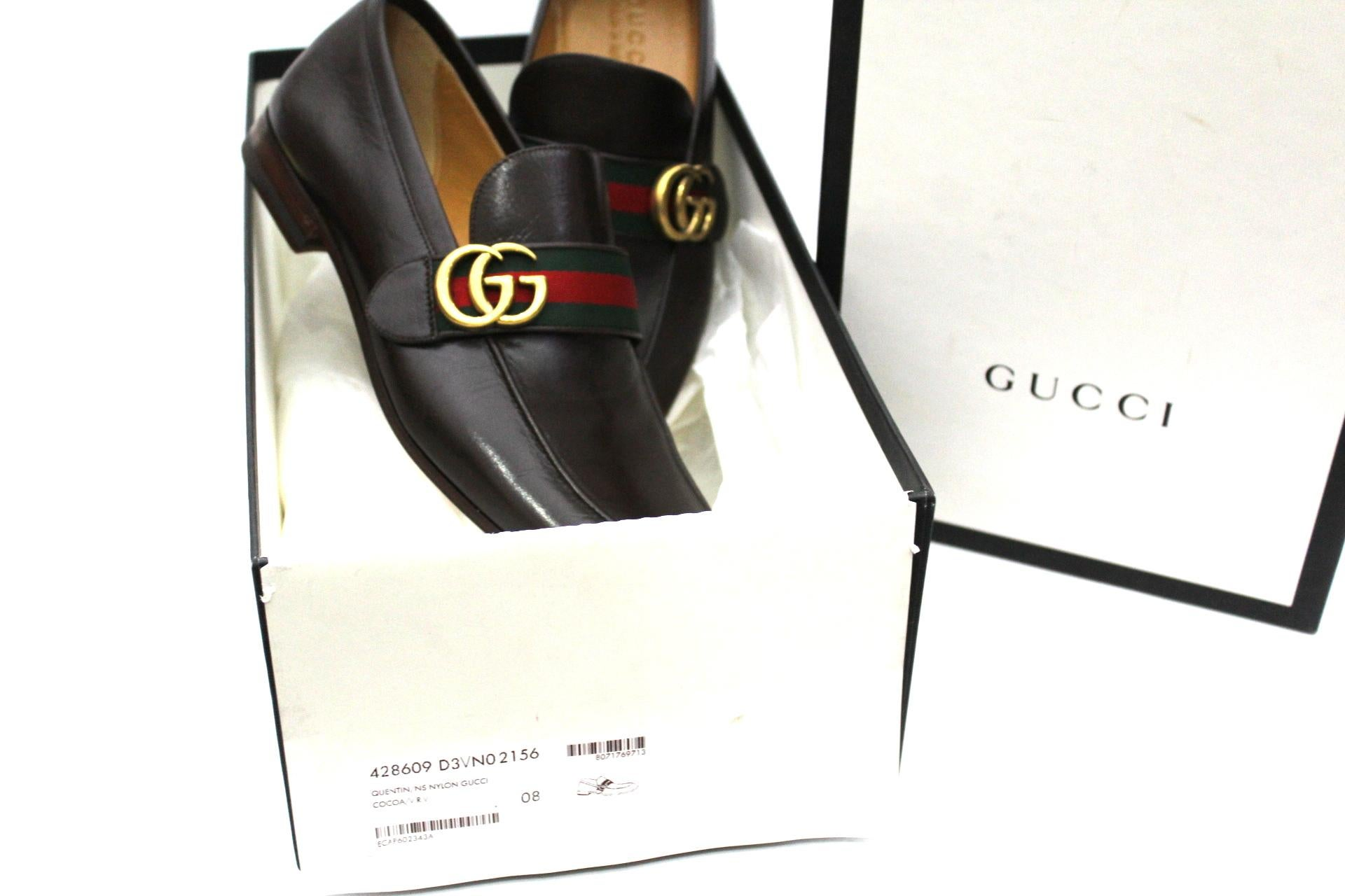 90249fd60 Gucci Mocassin Leather With Web Details and Double GG at 1stdibs