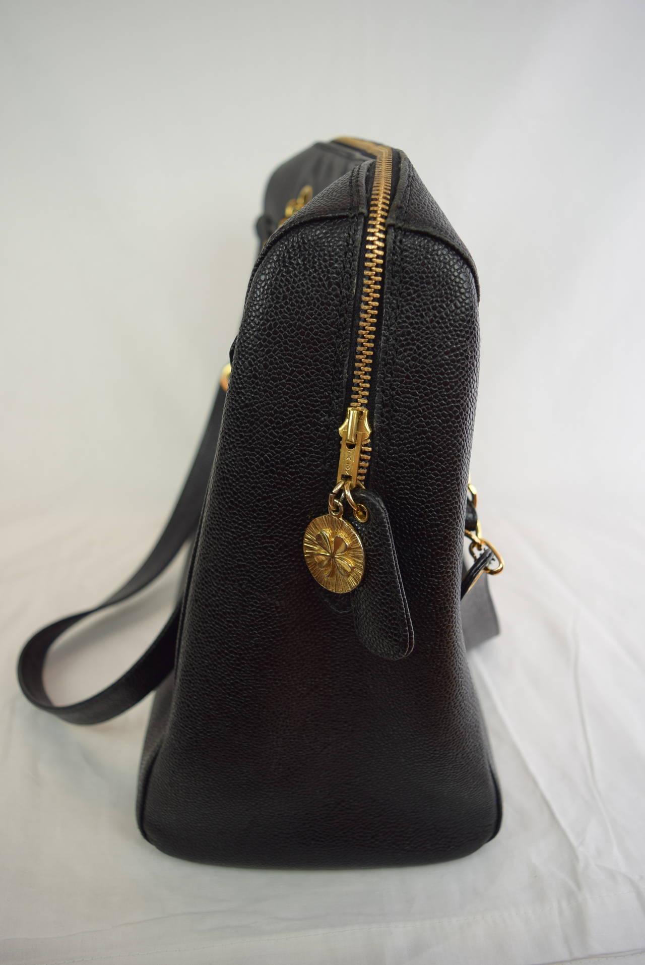 Chanel Boston Bag Black Caviar Shoulder Bag :Circa :1999 4