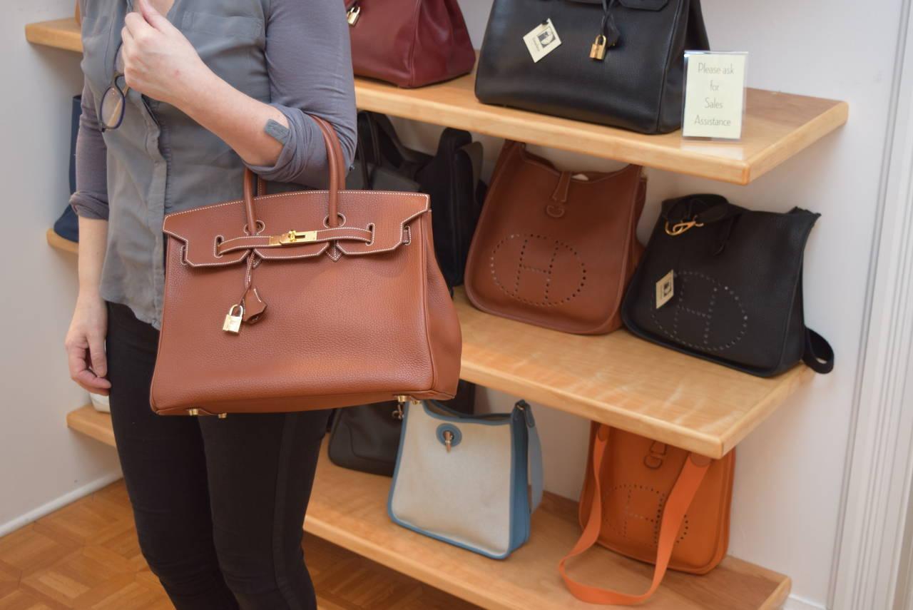 Hermes Birkin 35 cm Brown Taurillion Clemence Bag :Circa 2001 at ...