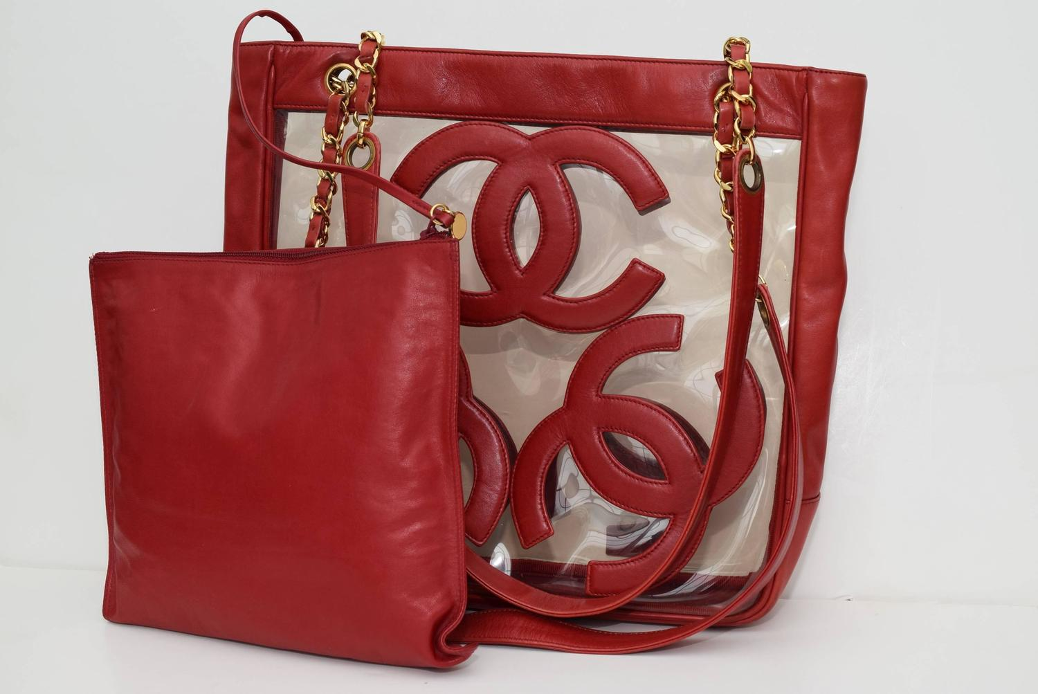 Home Designer Interiors Serial Chanel Rare Clear Vinyl Leather Red Tote Bag At 1stdibs
