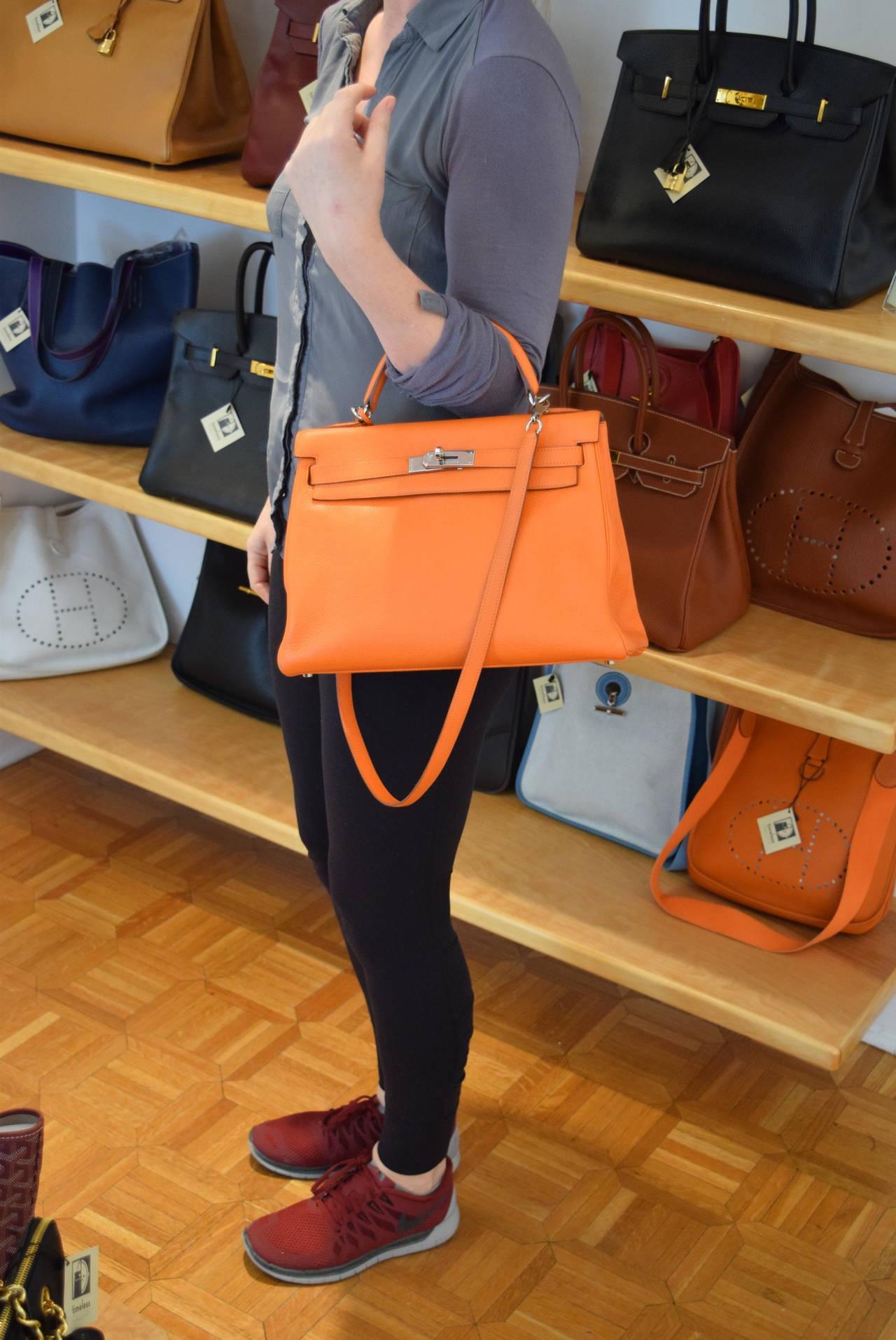Hermes Kelly 32 cm Orange Clemence Bag with Palladium Hardware ...