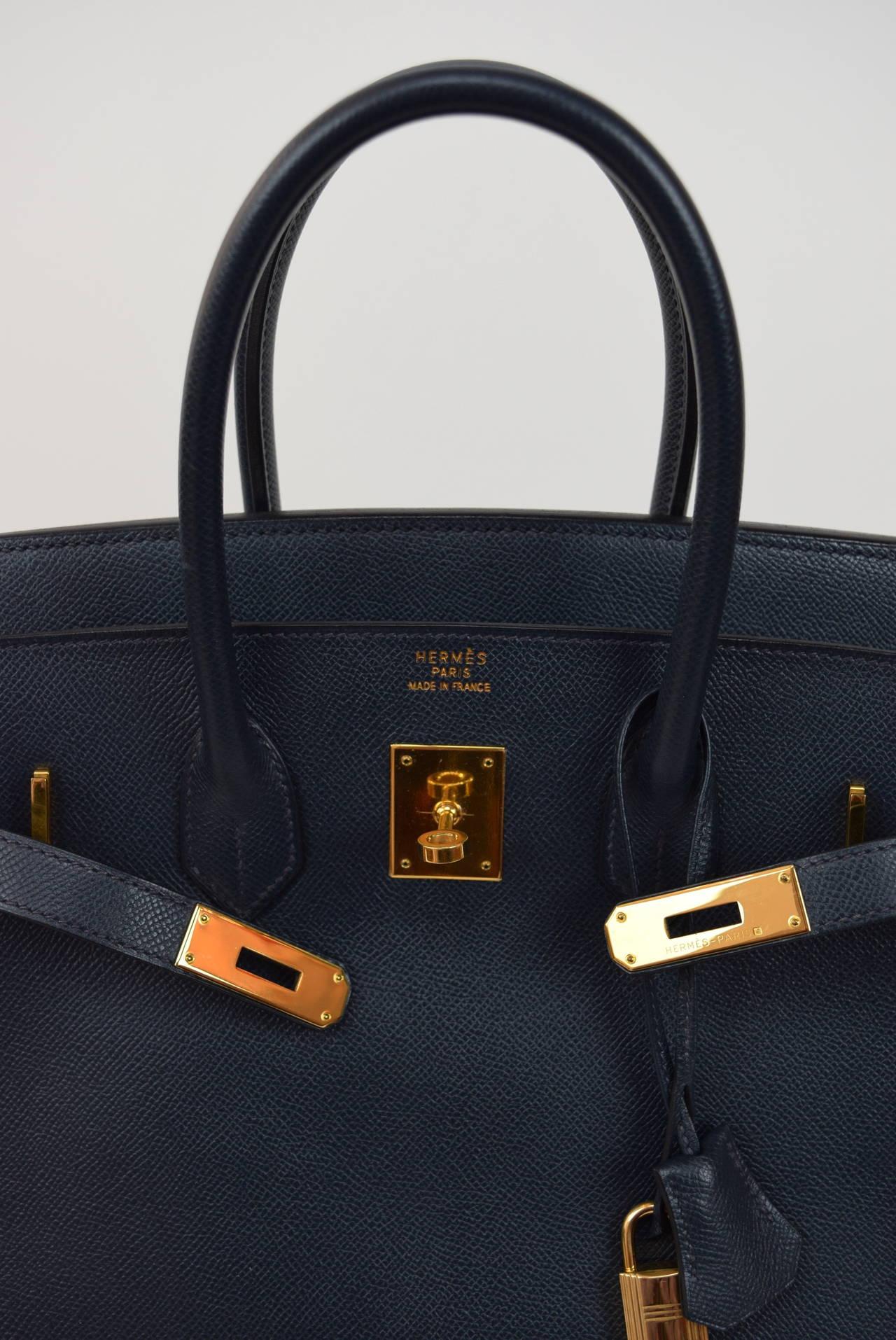 Hermes Dark Navy Blue Coucheval Birkin 35 cm bag at 1stdibs