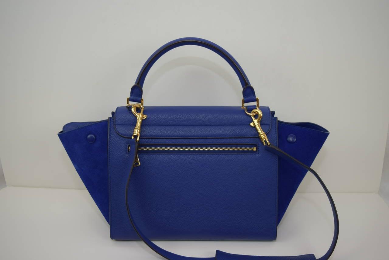 Celine Two Color Blue Leather and Suede \u0026quot;Trapeze \u0026quot; Bag .Circa 2009 ...