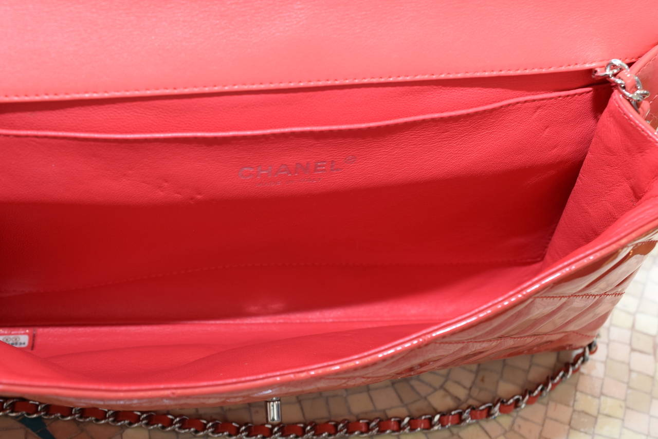 Chanel Patent leather Coral classic Shoulder Clutch bag 10