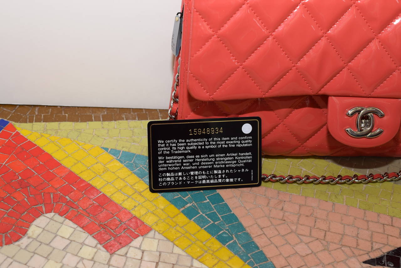 Chanel Patent leather Coral classic Shoulder Clutch bag 7