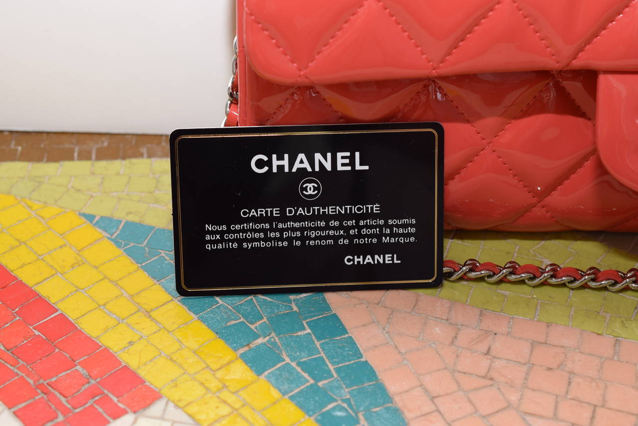 Chanel Patent leather Coral classic Shoulder Clutch bag 8