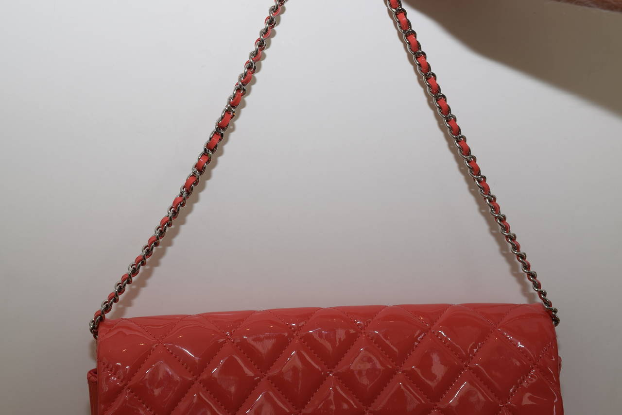 Chanel Patent leather Coral classic Shoulder Clutch bag 9