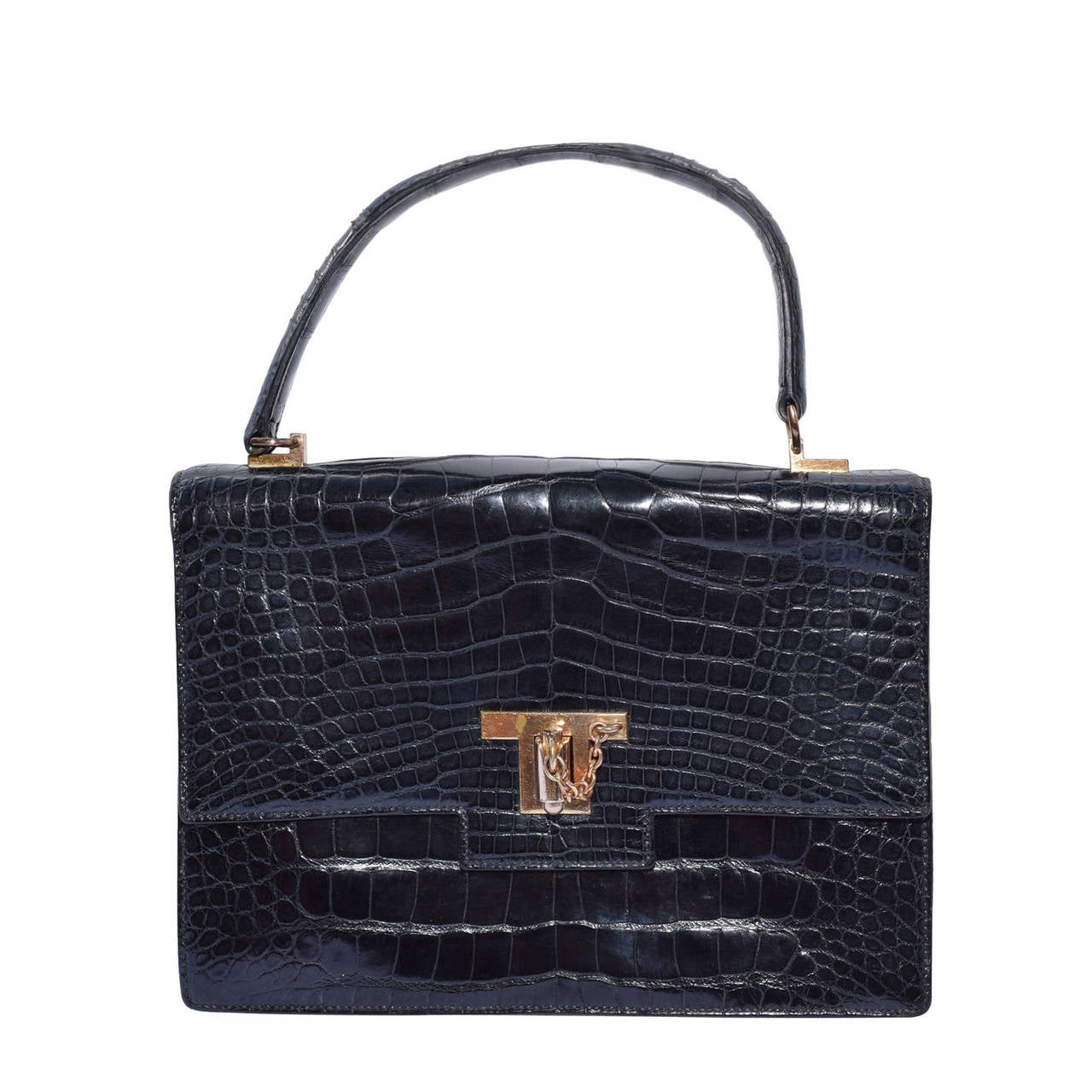 "hermes leather bag - Hermes Vintage ""Alligator ""Clutch and Purse Bag .Black .Circa ..."