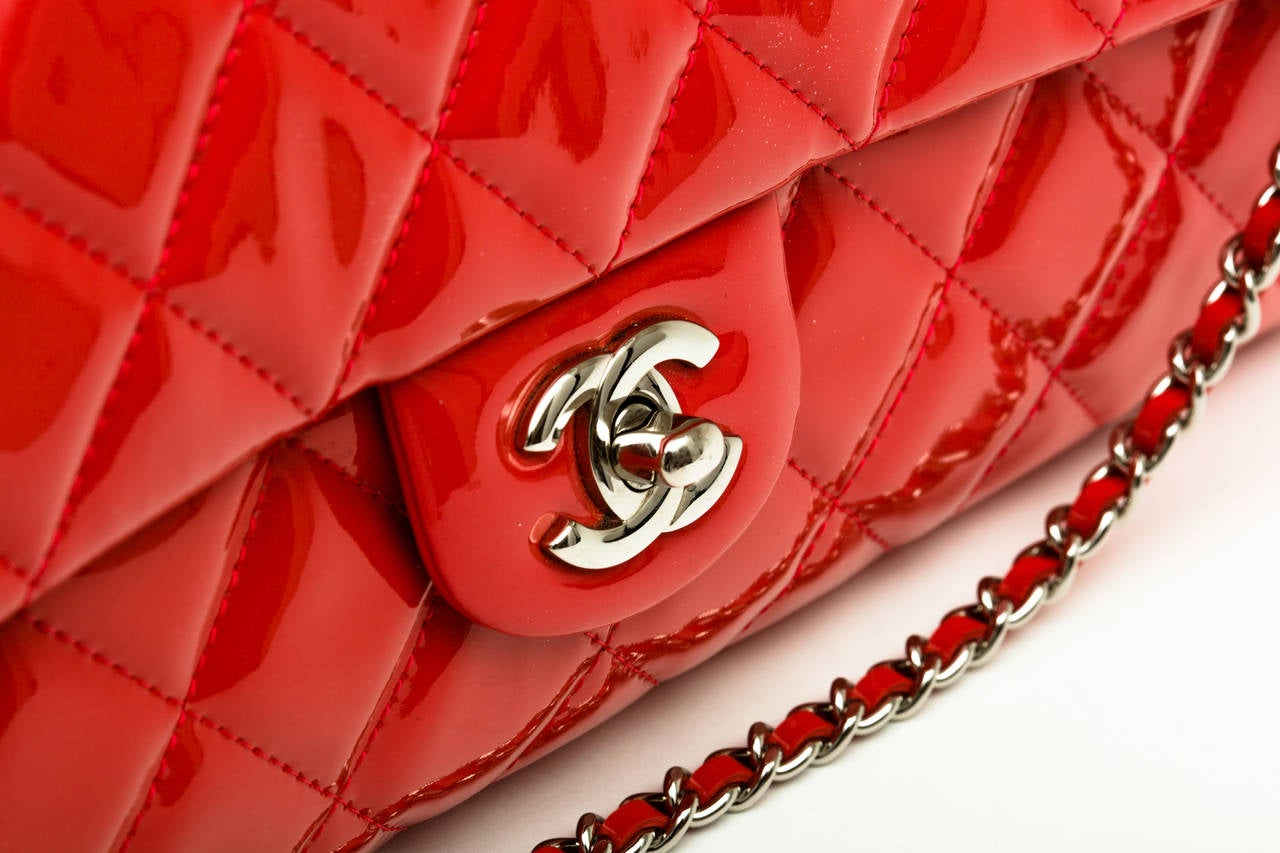 Chanel Patent leather Coral classic Shoulder Clutch bag 2