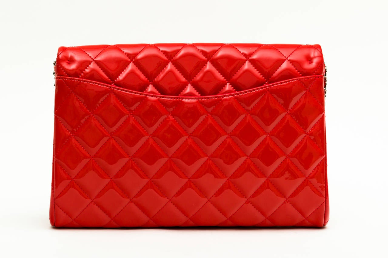 Chanel Patent leather Coral classic Shoulder Clutch bag 4