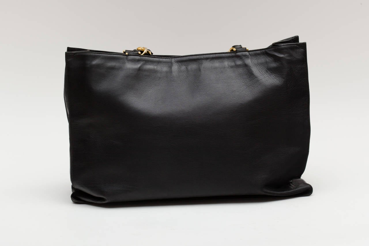 Chanel Black Calf Leather Tote Bag Oversized with Long Chain .. 2