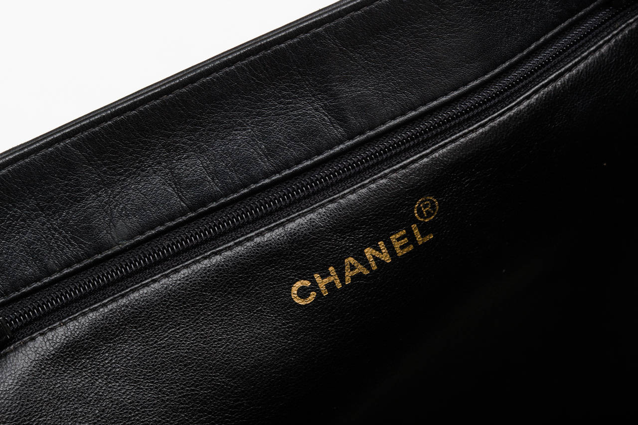 Chanel Black Calf Leather Tote Bag Oversized with Long Chain .. 4