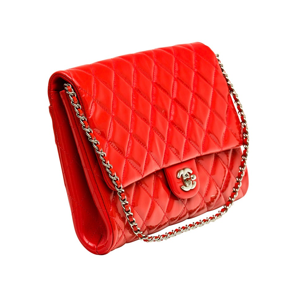 Chanel Patent leather Coral classic Shoulder Clutch bag 1