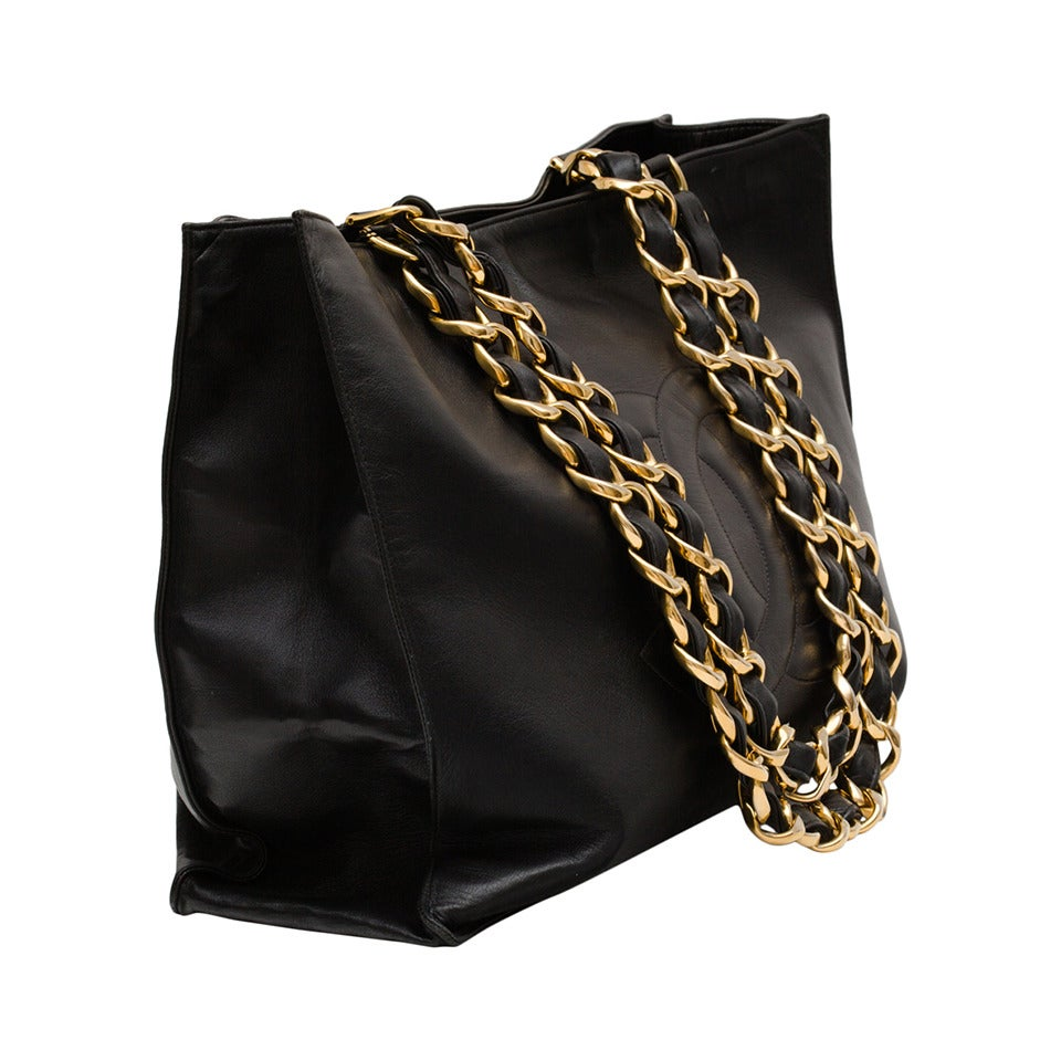 Chanel Black Calf Leather Tote Bag Oversized with Long Chain .. 1
