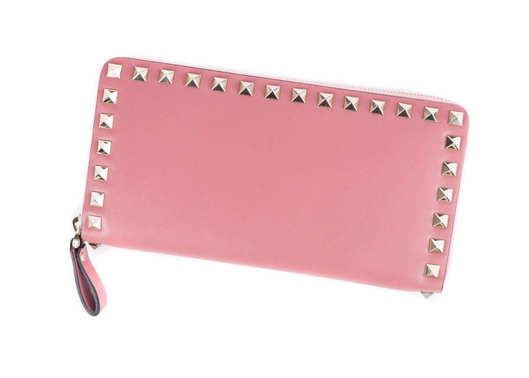 Valentino Women's Salmon Pink Leather Continental Zip Wallet 2