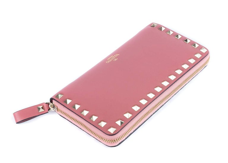 Valentino Women's Salmon Pink Leather Continental Zip Wallet 3
