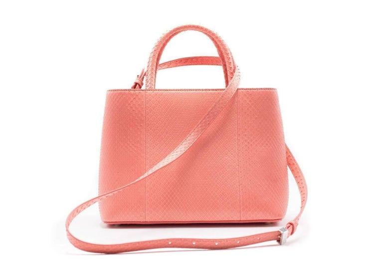 Fendi Petite 2Jours Python Top Handle Shopper Bag Pink 3
