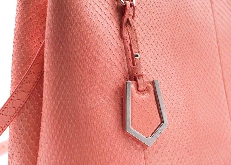 Fendi Petite 2Jours Python Top Handle Shopper Bag Pink 4