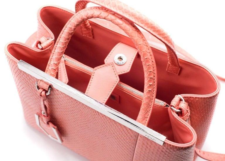 Fendi Petite 2Jours Python Top Handle Shopper Bag Pink 5
