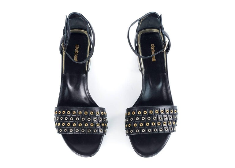 Roberto Cavalli Womens Black Eyelet Dress Sandals Pumps For Sale ...