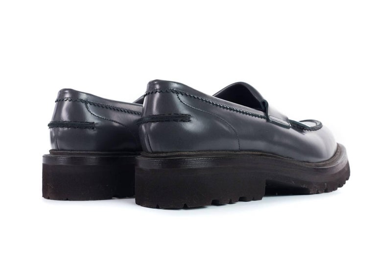19be5c5589d Black Brunello Cucinelli Women Grey Leather Fringe Detail Loafers For Sale