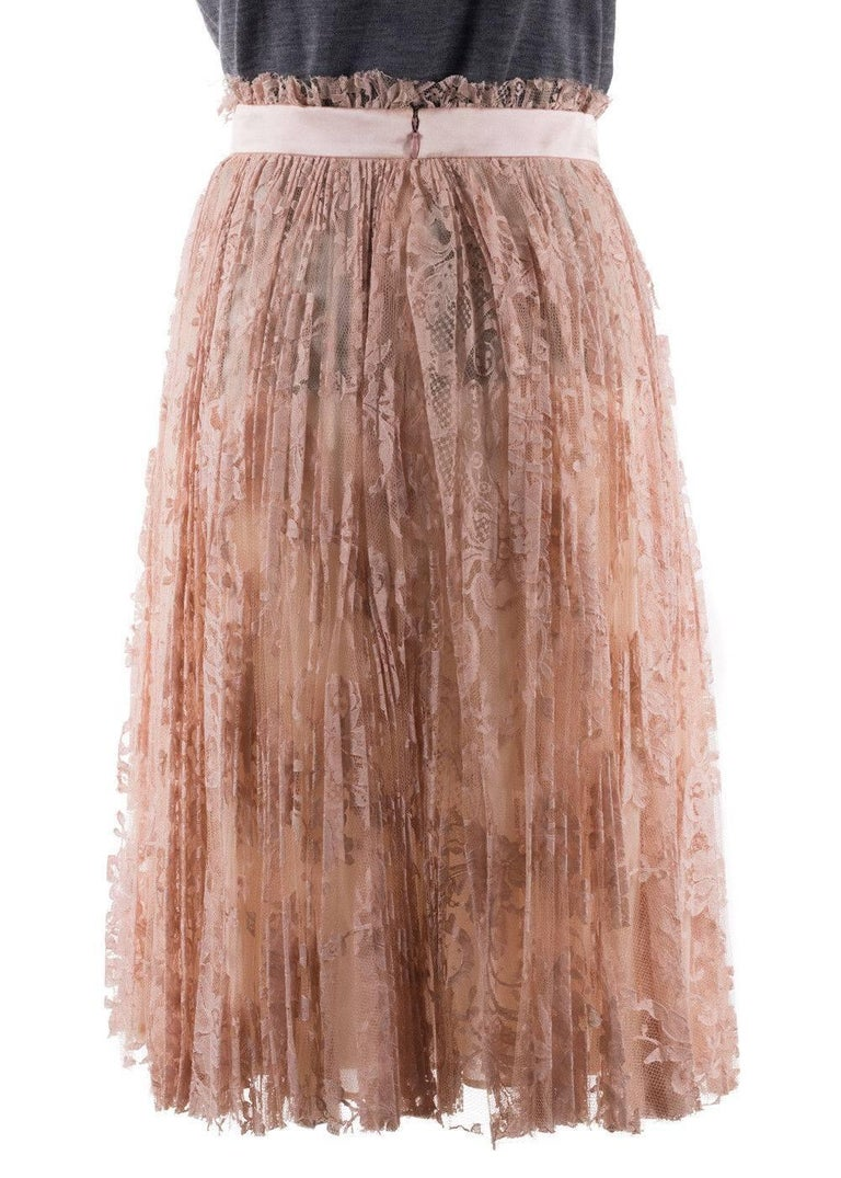 Brown Alexander Mcqueen Womens Pink Pleated Floral Lace Skirt For Sale