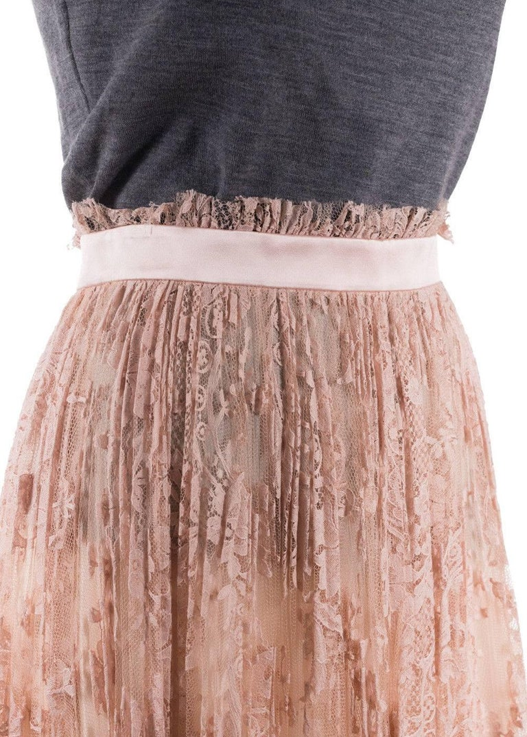 Alexander Mcqueen Womens Pink Pleated Floral Lace Skirt 2