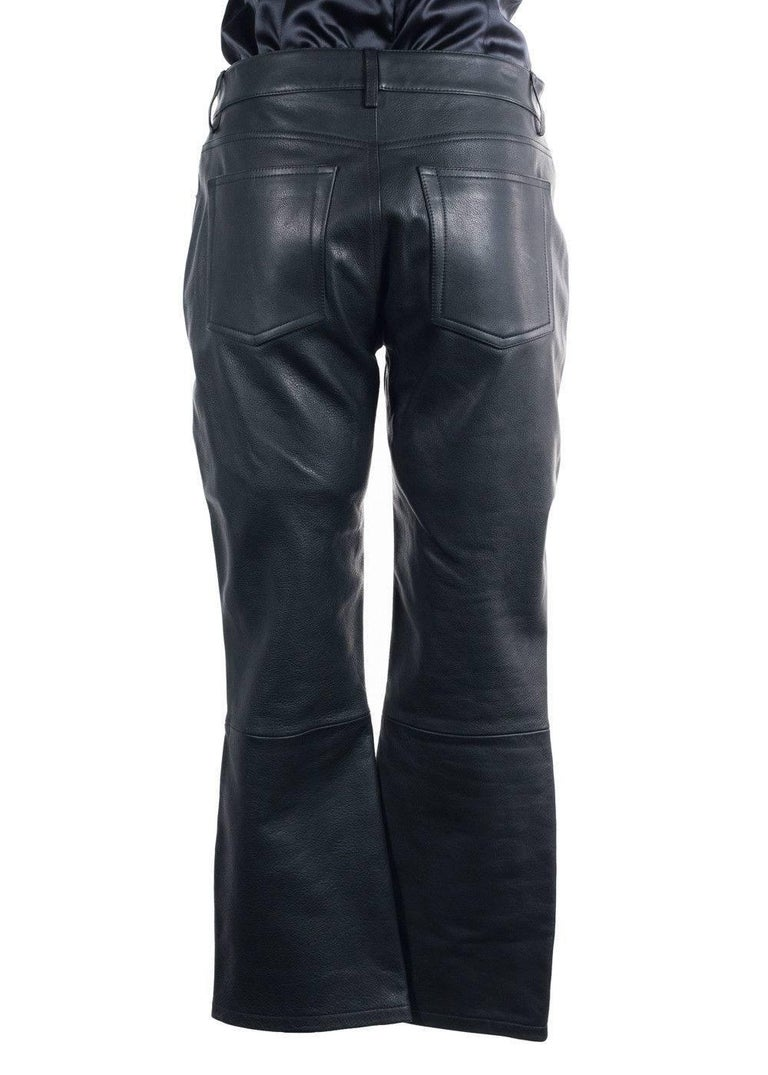 Alexander Wang Women's Black Leather Cropped Bikers Trousers  In New Never_worn Condition For Sale In Brooklyn, NY