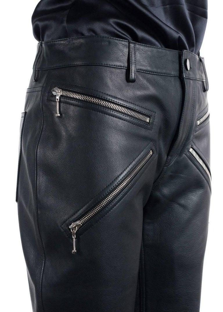 Alexander Wang Women's Black Leather Cropped Bikers Trousers  For Sale 1