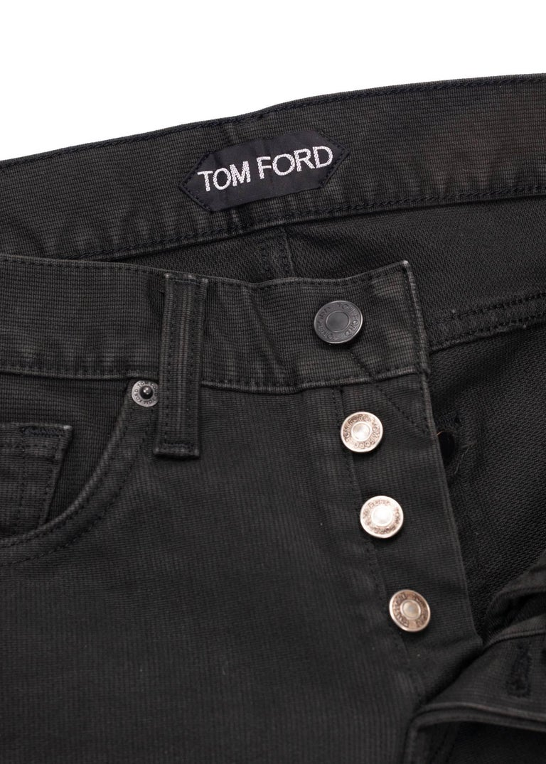 Black om Ford Denim Jeans Dark Grey Wash Size 28 Straight Fit Model For Sale