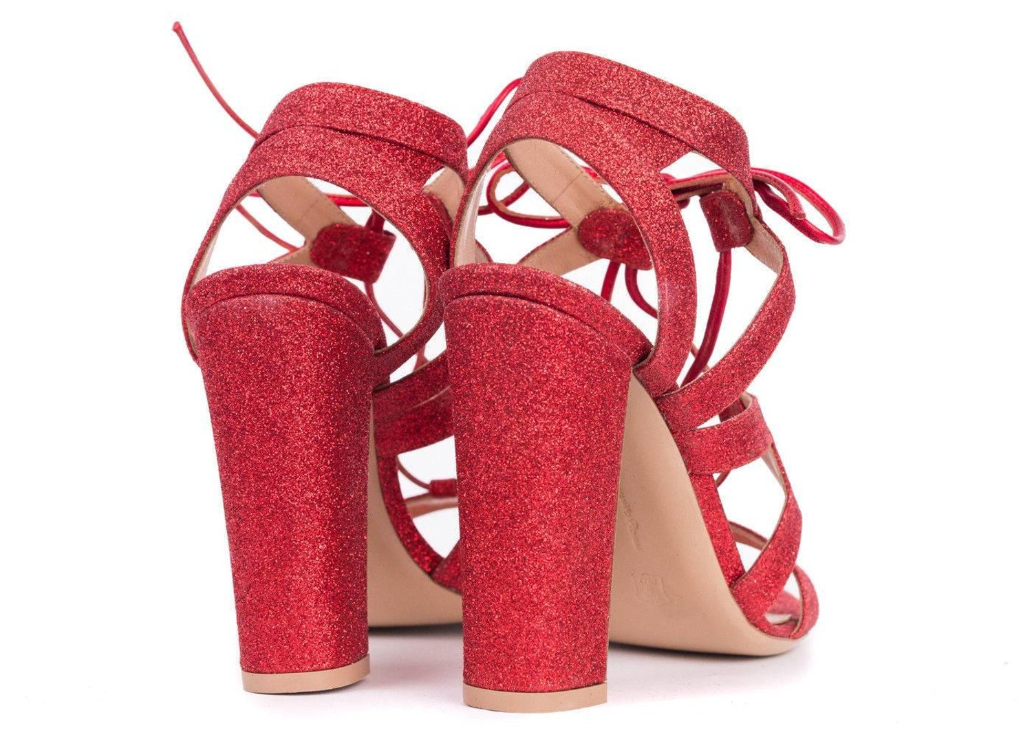 380fdb3db75 Gianvito Rossi Red Glitter Caged Lace Up Sandal Heels For Sale at 1stdibs