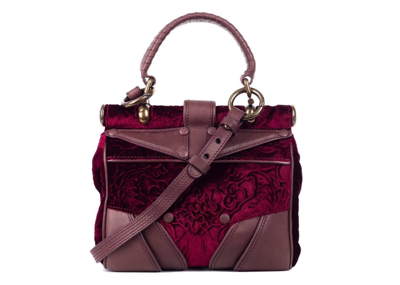 Roberto Cavalli Red Brown Velvet Leather Top Handle Shoulder Bag X40zE6rG8