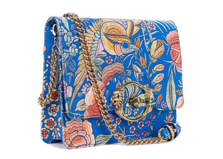 1stdibs Roberto Cavalli Blue Leather Floral Flower Print Shoulder Bag XVewq2Ma