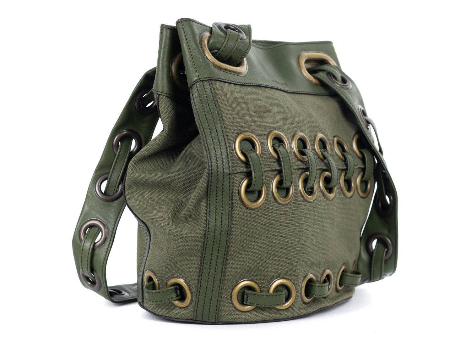 1stdibs Roberto Cavalli Solid Army Green Large Eyelet Canvas Leather Bucket Bag BY1pv2