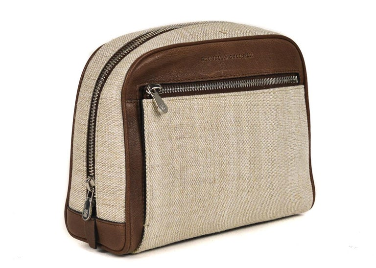a87dc8d4f4f8 Brunello Cucinelli Men s Brown Leather Canvas Wash Bag For Sale. If you re  going to be using it on the regular