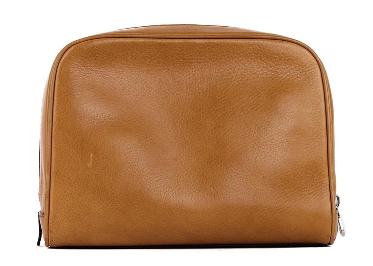 727387e82e66 Women s or Men s Brunello Cucinelli Men s Light Cognac Brown Leather Wash  Bag For Sale