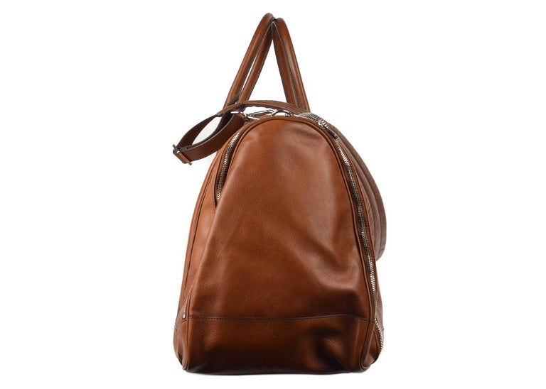Brunello Cucinelli Men's Brown Leather Travel Fold Up Garment Bag In New Condition For Sale In Brooklyn, NY